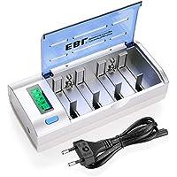 EBL 906 LCD Universal Akku Ladegerät- für AAA/AA/SC/Baby C/Mono D/9 Volt/NiMH/NiCD wiederaufladbare Batterien, 6 Ladekanäle, Entladegerät, Schnell- Batterieladegerät