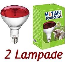 Pezzi nr.2 Lampada raggi infrarossi da 150 watt E27 per riscaldamento pulcini, suini, ecc.