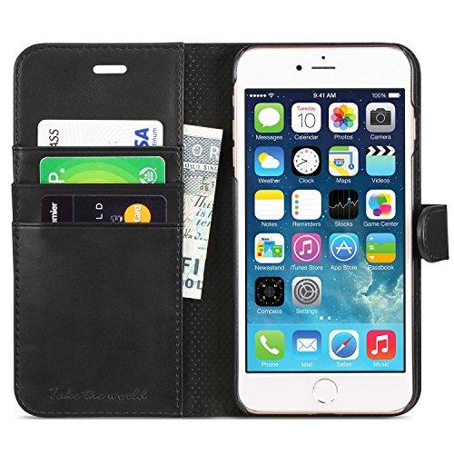 iPhone 7 Hülle, iPhone 8 Hülle, TUCCH Handyhülle Lederhülle iPhone 7/iPhone 8, TUCCH Handyhülle iPhone 7/iPhone 8, Schutzhülle [Lebenslange Garantie] mit [Aufstellfunktion] [Kartenf'chern] [Magnetvers Schwarz