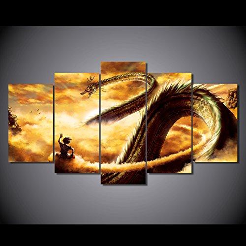 goku-et-shen-long-tam-tam-dragon-ball-z-anime-poster-imprime-sur-toile-en-5-pieces