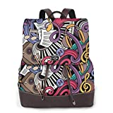 Women's Leather Backpack,Music Themed Hand Drawn Abstract Instruments Microphone Drums Keyboard Stradivarius,School Travel Girls Ladies Rucksack