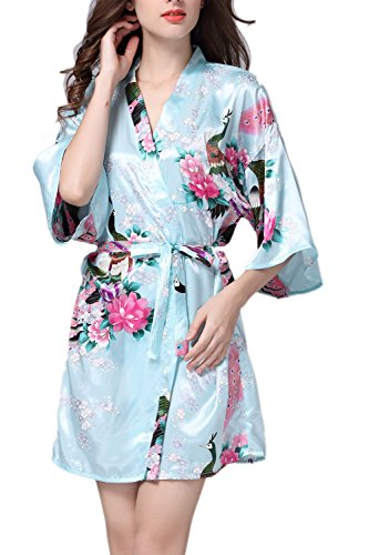 Frauen Kimono Bademäntel Satin Seide Nachtwäsche kurzen Stil Lightblue