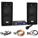 DJ-26 PA-Komplett-SET / lautstarke Musikanlage mit 2000 Watt PA-Boxen & Verstärker inkl. Kabel-Set + Mikrofon (für bis zu 250 Personen, 4 x30cm Subwoofer, 3-Band-Equalizer)