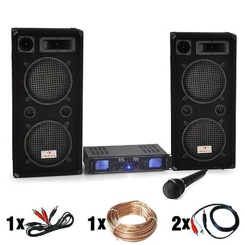 DJ-26 PA-Komplett-SET / lautstarke Musikanlage mit 2000 Watt PA-Boxen &