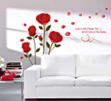#7: Decals Design 'Romantic Rose Flowers' Wall Sticker (PVC Vinyl, 50 cm x 70 cm)