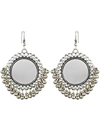 The Indian Handicraft Store Green Round Mirror Oxidised Silver Earring Designer Handmade Jewellery