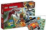 LEGO Juniors 10756 - Flucht vor Dem Pteranodon + Jurassic World Stickerbogen, Cooles Kinderspielzeug