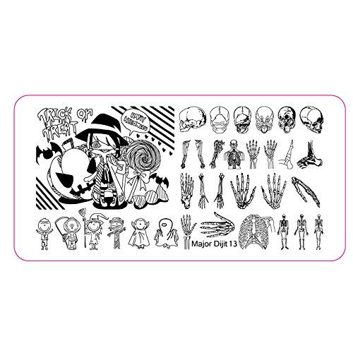 Nagelsticker,Nagelaufkleber,Nagelkunst Sticker Selbstklebende Maniküre Sticker Schöne Mode DIY Dekoration Nagel-Kunst-Bild-Stempel Halloweens Platten-Maniküre (Schwarz)