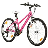 Kinderfahrrad 24 Zoll Bikesport VIKY Mädchenfahrrad Shimano 18 GANG (Rosa Matte)