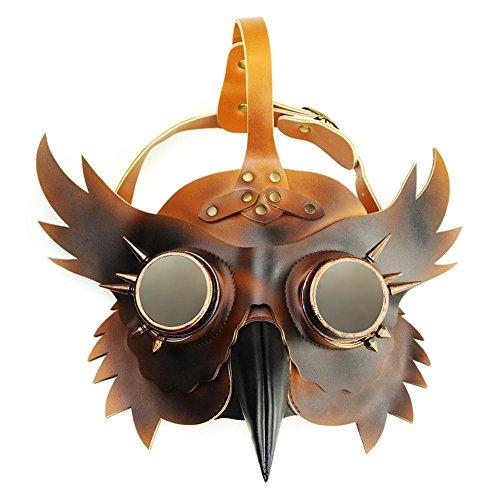 (Schnabelmaske Halloween Maske Pest Arzt Bad Doctor Steampunk Gesichtsmaske Vogel Kostüm mit langer Nase Fashing Karneval Cosplay PU Leder)