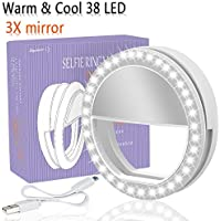 LST Selfie Ring Light Rechargeable for Phone, Cool & Warm Ring Lights Fill-in Lighting Portable for Smartphone, Pad, Laptop (White-Mirror)