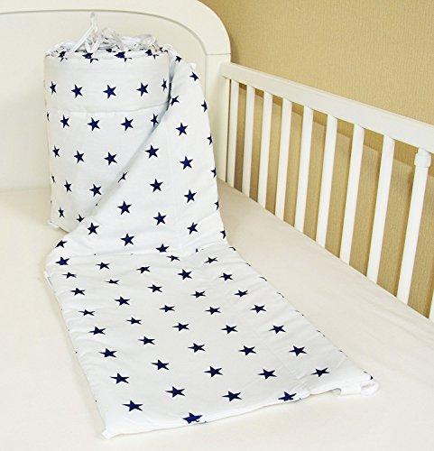 Preisvergleich Produktbild Amilian® Bettumrandung Nest Kopfschutz Nestchen 420x30cm, 360x30cm, 180x30 cm Bettnestchen Baby Kantenschutz Bettausstattung Sternchen Blau auf weiß (A10) (360x30cm)