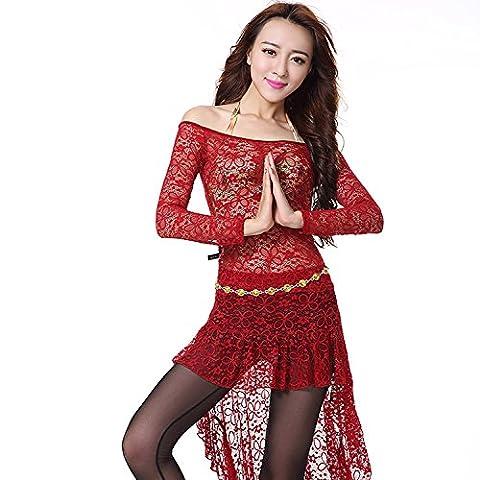 Mme Danse du ventre Ensemble Service de pratique Dentelle Danse Vêtements , red wine (jacket + waist skirt) , m