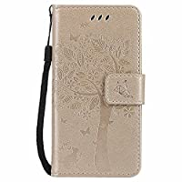 Galaxy A3 2017 Case, C-Super Mall-UK Embossed Tree Cat Butterfly Pattern PU Leather Wallet Stand Flip Case for Samsung Galaxy A3 2017 (Golden)
