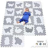 qqpp EVA Puzzle Tapis Mousse Bebe - Idéal pour Les Tapis De Jeux Enfant,18 Dalles(30*30*1cm), Animaux, Blanc & Gris. QQP-51(AL) b18N