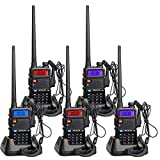Retevis RT5R Funkgeräte Set Amateurfunk Walkie Talkies 128 Kanäle 2m/70cm UHF/VHF Dualband Funkgerät mit Headset FM Radio CTCSS/DCS Walkie Talkie Two Way Radio Funkamateur(5 STK, Schwarz)