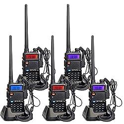 Retevis RT5R Funkgeräte Walkie Talkies Set Lange Reichweite 128 Kanäle FM Radio Dualband 2m/70cm Funkgerät Wiederaufladbar Funkgerät mit Headset Amateurfunk (5 Stücke, Schwarz)