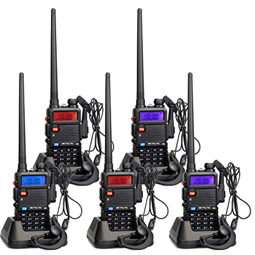 Retevis RT5R Walkie Talkie Profesional 5 W Doble Banda 128Canales Two Way Radio DTMF VOX FM Radio Emisora de Caza con Original Auricula (5 Pacs)