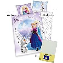 3piezas Cama Reversible con diseño: Sisters–Frozen Anna Elsa Olaf–bebé (100x 135cm + 40x 60cm + 1sábana bajera blanco 70x 140cm