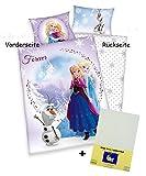 3 tlg. Baby Bettwäsche Wende Motiv: Eiskönigin sisters - mit Anna Elsa Olaf - Renforcé 100x135 cm + 40x60 cm + 1 Spannbettlaken weiß 70x140 cm