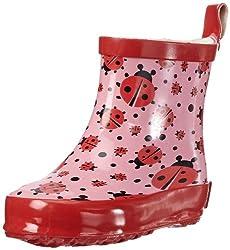 Playshoes Kinder Halbschaft-Gummistiefel aus Naturkautschuk, trendige Unisex Regenstiefel mit Reflektoren, mit Käfer-Muster, Pink (original 900), 24