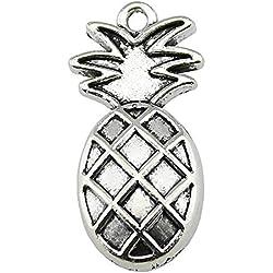 NEWME 25 unids 24x12mm colgante de los encantos de la piña para la fabricación de joyas de bricolaje Fabricación al por mayor hecha a mano collar de la pulsera llavero accesorios del bolso