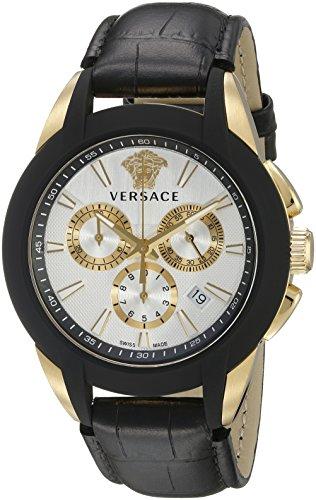 Versace Character Homme 42mm Bracelet Cuir Noir Quartz Montre VQN030015