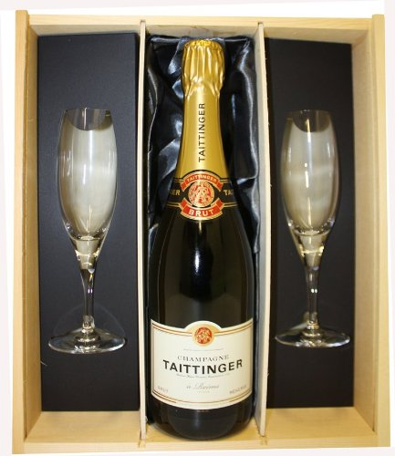 Taittinger Brut Reserve Champagne presented in a Wooden Box with 2 hand etched 'Congratulations' Champagne Flutes – 750ml