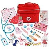Foxom Arztkoffer Kinder Holz, 31 Stück Kinder Arztkoffer Holz Doktorkoffer Spielzeug Doktor Spielset Rollenspiel Lernspielzeug für Kinder ab 3 Jahre