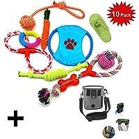 10 PCS Perro Mascota Juguetes Interactivos,WoBoSen Cuerdas de Nudo, Bolas, Zapato, Disco de Vuelo, Bola de Risa Juguetes Interactivos Conjunto con el Saco de Bolsa de Entrenamiento de Tratamiento