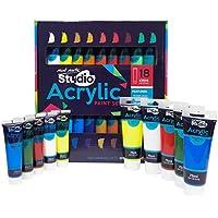 MONT MARTE Set di Colori Acrilici Premium - 18 pezzi tubi da 36ml - Ideale per Pittura Acrilica - Colori brillanti e resistenti alla luce con grande opacità - Perfetto per Principianti, Professionisti