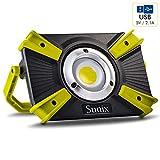 Sunix Faro Luce LED Portatile 30W, Proiettore Ricaricabile con Cavo USB LED Esterni 1600LM 4400mAh con Batteria Ricaricabile Integrata, Lavoro Luce da Campeggio Lamp Doppia Porta USB e modalità SOS