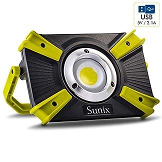 Sunix Foco LED Proyector 20W Exterior, Luz de Trabajo, 4 Modos, con Luz Roja, Resistente al Agua IP64, Baterías Recargables Incorporadas 1600LM