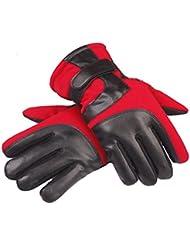 Guantes de los hombres de invierno guantes de ciclo caliente al aire libre Deportes de algodón para no - Slip exterior Touch - guantes de la pantalla ( Color : Rojo )