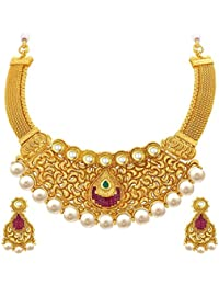 Sukkhi Eye-Catchy Gold Plated Kundan Necklace Set For Women