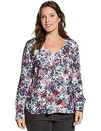 Ulla Popken Damen große Größen | Geblümte Bluse | V-Ausschnitt | lange Ärmel | Gerundeter Saum | bis Größe 62+ | 712415