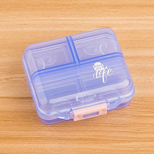 Shuxy Portabler Reiseveranstalter Rezept- und Medikamentenerinnerung Wöchentliche 7-Tage-Pillendose Taschenspender Schmuck Schrauben Container, 7 Fächer, Transluzent Blau Rezept Kästen Und Behälter