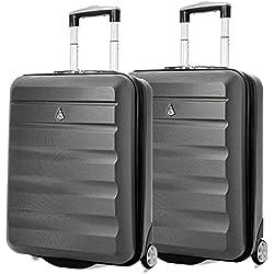 Aerolite 55x40x20 Ryanair Taille Maximale 40L ABS Bagage Cabine Bagage à Main Valise Rigide Légere à 2 roulettes, s'adapte Également à Easyjet, Lufthansa, Monarch et Plus, Set de 2, Gris Foncé