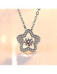 bee94fbd9489 Axiba Elegante 5 Estrellas con Incrustaciones de Diamante Zircon Colgante  Femenino Collar de Plata cumpleaños Regalo