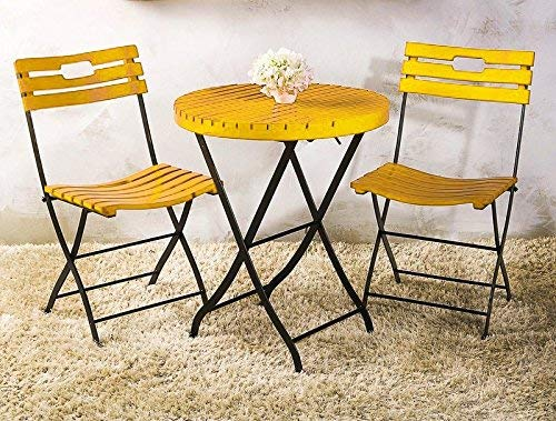 Mint Furnish Outdoor Garden Patio Seating Set 1 Table and 2 Chairs (Metal and Wood, Yellow)