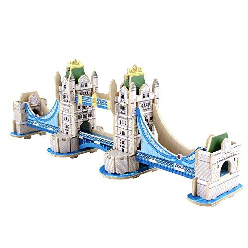 Lychee 3D legno puzzle Construction Kit, Torre Eiffel Arco di trionfo Big Ben Tower Bridge Woodcraft fai da te modello, grande architettura del mondo- JZ801
