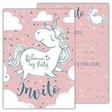 Partycards Set di 12 inviti Compleanno Biglietti invito per Festa Compleanno per Bambini e Adulti in Italiano - Unicorno Rosa