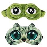 Mascherina per Dormire Notte Bambina Donna Divertenti animali Rana Occhi 3D Sleep Eye Mask Cover Sonno Maschera