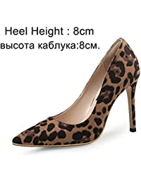 VIVIOO Tacón Alto Bombas De Mujer Zapatos De Tacones Altos Zapatos De  Fiesta De Leopardo Delgados 5f81dd11c859