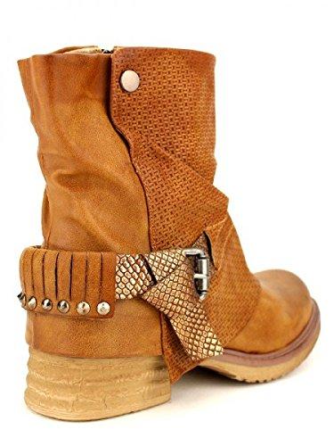 Cendriyon, Bottine Camel ROCKS TANGES Chaussures Femme Caramel