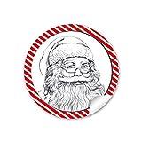 24 Weihnachtsaufkleber WEIHNACHTSMANN NIKOLAUS ROT WEIß GESTREIFT Vintage Retro Weihnachten • Papieraufkleber Sticker Aufkleber Etiketten • Format 4 cm rund matt