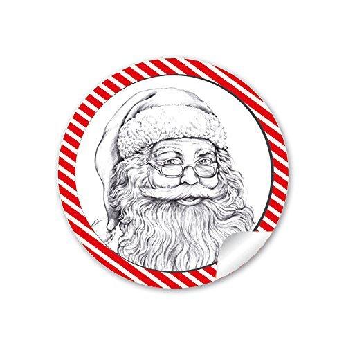 er WEIHNACHTSMANN NIKOLAUS ROT WEIß GESTREIFT Vintage Retro Weihnachten • Papieraufkleber Sticker Aufkleber Etiketten • Format 4 cm rund matt ()