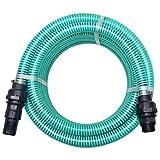 Festnight 10 m PVC Saugschlauch mit Anschlüssen Ansaugschlauch Ansauggarnitur Sauggarnitur 22 mm 26 mm Grün