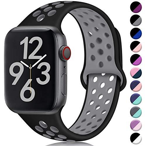 Hamile Correa para Apple Watch 42mm 44mm, Doble Color Pulsera de Repuesto de Silicona Suave Transpirable Correa para Apple Watch Series 5/4/3/2/1, S/M Negro/Gris