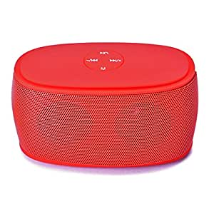 Bluetooth Speakers,QUWIN Wireless Portable Speaker Handsfree with Bass 3D Stereo Sound for Room, Outdoor Sports and Shower (Red)